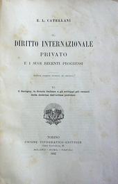 Catellani. Il Savigny, la scuola Italiana e gli svilupp