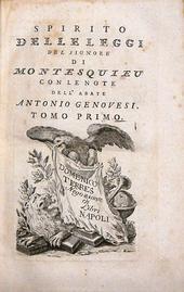 Spirito delle Leggi, note di Genovesi, 1a ed. economica