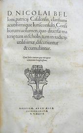 Le Opere di Belloni. Consilia. Supputationum. Institut.