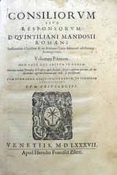 Mandosio. Consiliorum sive Responsorum Volumen Primus.