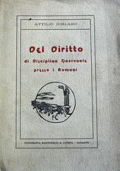 Del diritto di disciplina nazionale presso i romani.