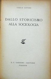 Antoni. Dallo storicismo alla Sociologia.