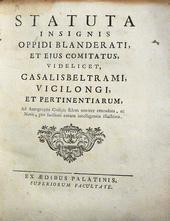 Gli Statuti di Biandrate coi le note di Donato Silva.