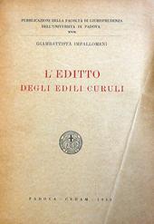 L'Editto degli Edili Curuli.