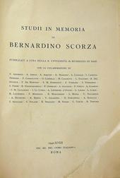 Studii in memoria di Bernardino Scorza