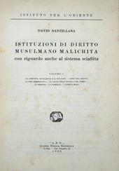 Santillana. Istituzioni di Dir. Musulmano Malachita.