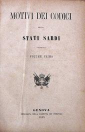 Una rarità. I Motivi dei Codici per gli Stati Sardi.
