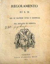 Regolamento Civile e Criminale per il Ducato di Genova.