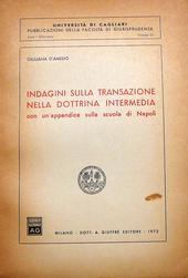 Indagini sulla transazione nella dottrina intermedia.