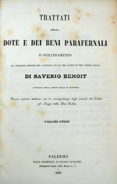 Trattati della Dote e dei Beni Parafernali.