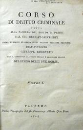 Corso di diritto criminale & Formulario generale atti