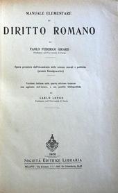 Manuale elementare di Diritto Romano.