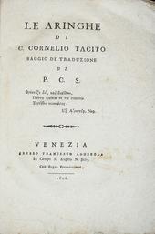 Le Aringhe di Cornelio Tacito saggio di traduzione