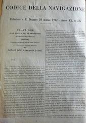 Codice della Navigazione. Aprile 1942. Ed. Gazzetta Uff