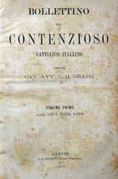 Bollettino del Contenzioso Cattolico. Anni 1877-80