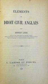 Elements de Droit Civil Anglais