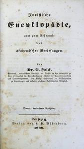 Juristische Encyklopadie, auch zum Gebrauche bei academ