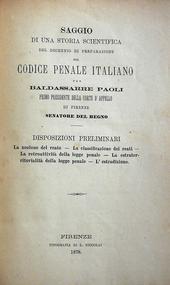 Paoli. Il decennio di preparazione al cod. penale ital.