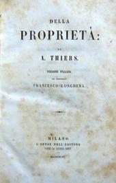 Della Proprietà. Versione italiana del Prof.  Longhena.