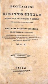 Eineccio. Recitazioni di Diritto Civile di Giustiniano.