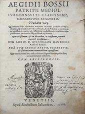 Bossi. Tractatus Varii. Qui omnem fere criminalem mater