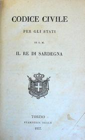 Il Codice Civile Albertino in una copia assai fresca.