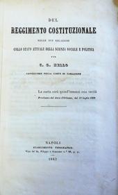 Del reggimento costutuzionale. Traduzione di E. Rocco.