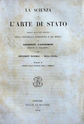 La scienza e l'arte di Stato dei Medici. Ord. economici