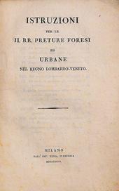 Istruzioni per le RR. Preture Forensi ed Urbane nel