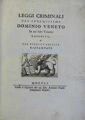 Leggi Criminali del Serernissimo Dominio Veneto