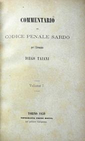 Taiani. Commentario al Codice Penale Sardo. I° (unico)