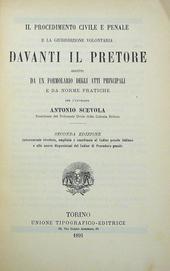 Il Procedimento Civ. e Pen. davanti il Pretore