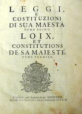Le Leggi e Costituzioni di S.M. Vittorio Amedeo Savoia.
