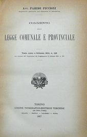 Commento alla Legge Comunale e Provinciale Testo unico